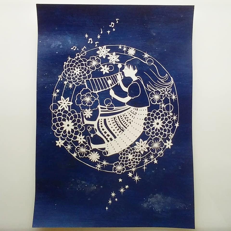 「宇宙の音色(マリンバ)」 21×29.7cm(A4)