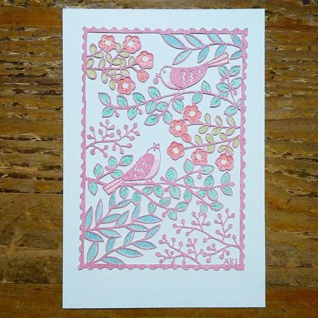 「小鳥たちのさえずり」 10×14.8cm