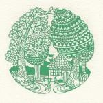 切り絵 森の家