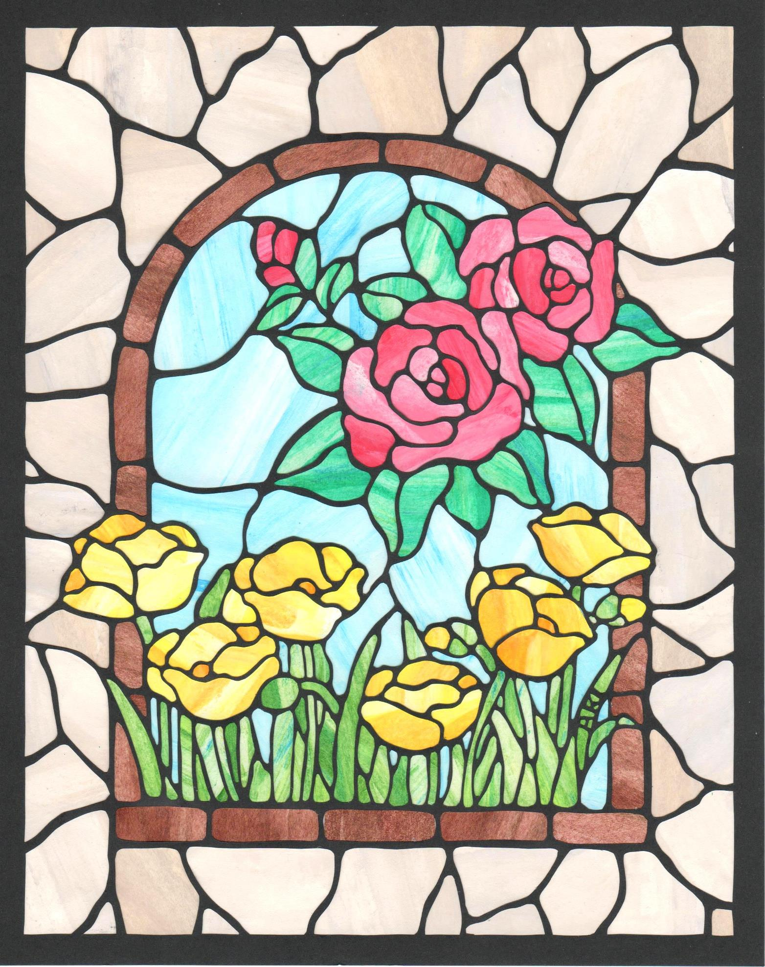 「ステンドグラスのお花」 25.4cm x 20.2cm