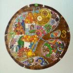 切り絵 時計の中の物語