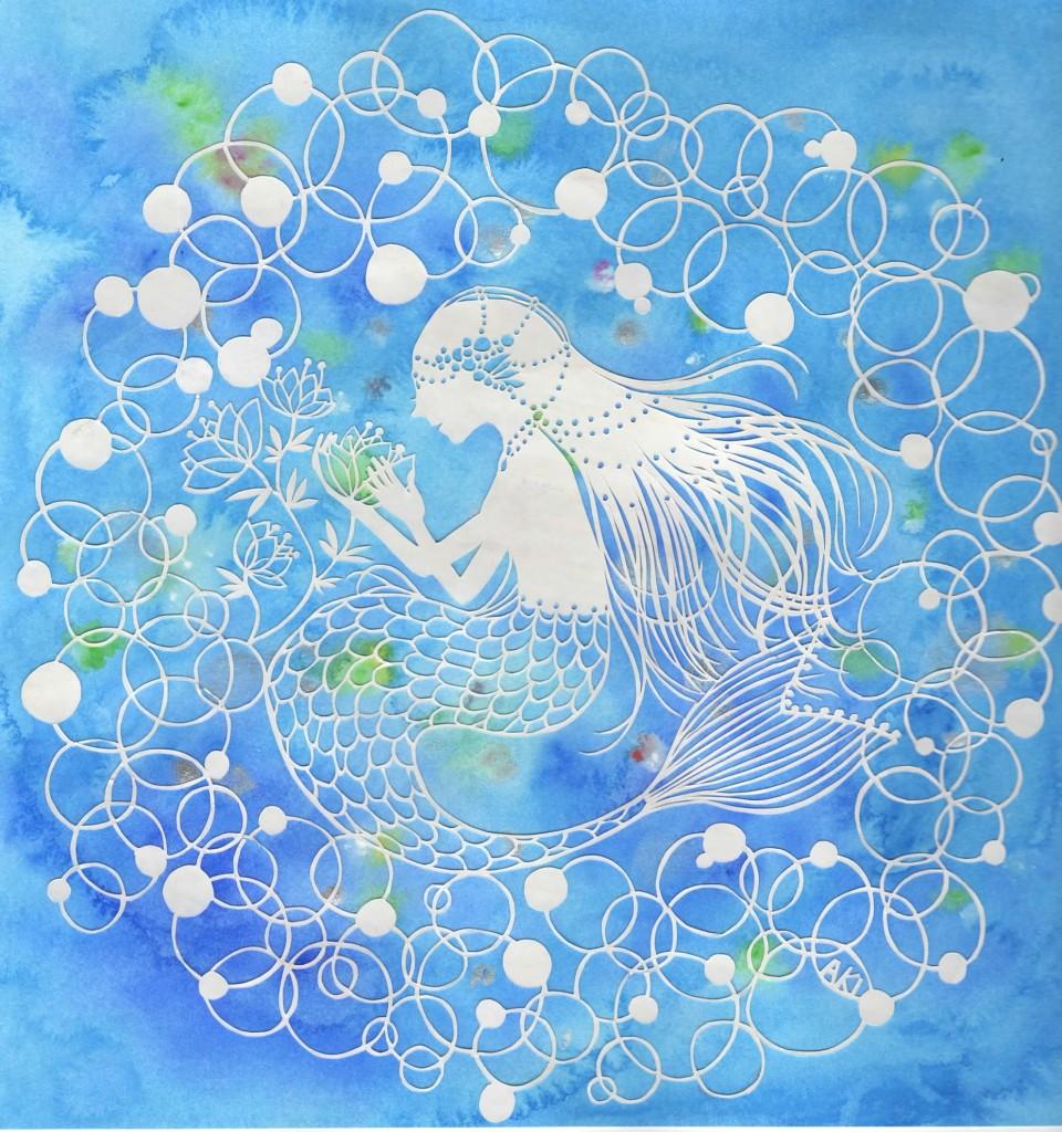 切り絵 海のお姫様