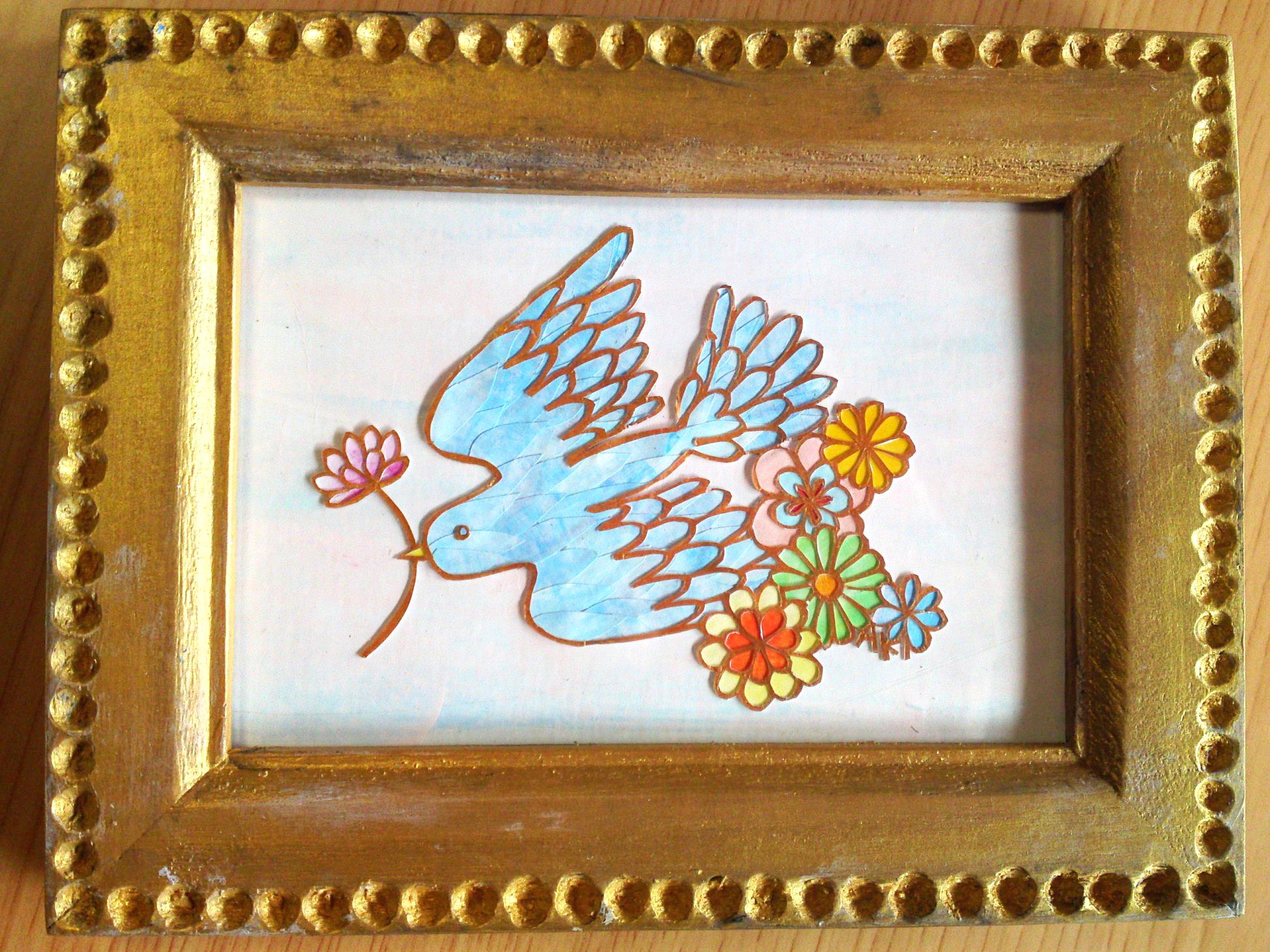 切り絵 青い鳥2